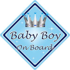 Notre petit homme Bébé À Bord Voiture Fenêtre Signe non personnalisé nouveau bleu blanc
