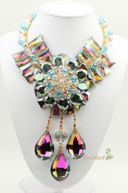 N14031601 shining faced crstal flower statement necklace
