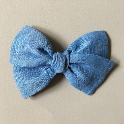 Clip //  Nylon Headband Linen Fabric Hand-tied Hair Bow for Girls