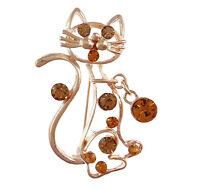 Wholesale Bulk Lot 8 Figural Cat & Charm Gold Tone Rhinestone Brooches Pins