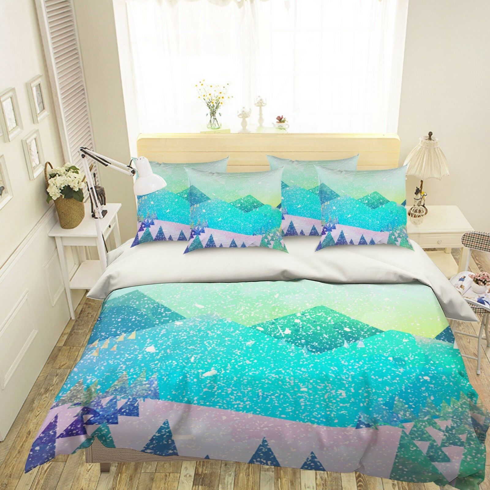 3D Snow Mountain 686 Bed Pillowcases Quilt Duvet Cover Set Single King UK Lemon