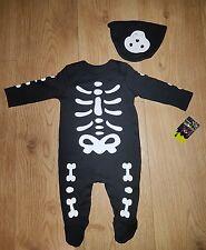 HALLOWEEN Baby UNISEX Skeleton Bodysuit + hat 3-6 mths NEW