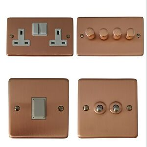 Rose Gold Crgw Plug Sockets Light Switches Dimmer Switch Cooker Toggle Fuse Ebay