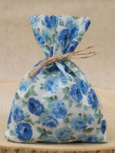 Blue White Wedding Favour Bags Floral Shabby Chic Personalised Vintage Style