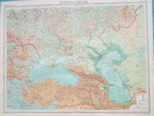 Map of Southern Russia. 1922. Black Sea. Caspian Sea. Ukraine ... Caspian Sea Map on