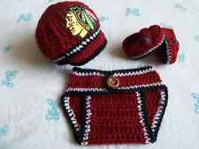 Crochet Chicago Blackhawks Baby Boys Hat, Diaper Cover and Booties (0-3 months)