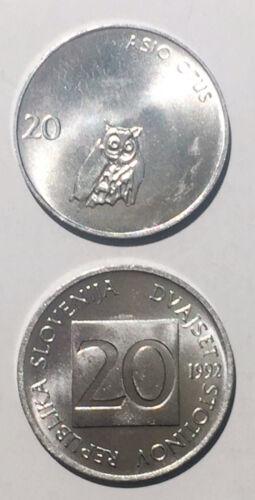 Slovenia 20 Stotinov 1992//1993 owl 19mm alum coin UNC