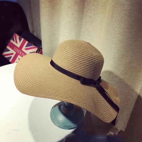 Summer Floppy Straw Hat Women Wide Brim Ribbon Sun Hat Foldable Panama Beach Hat