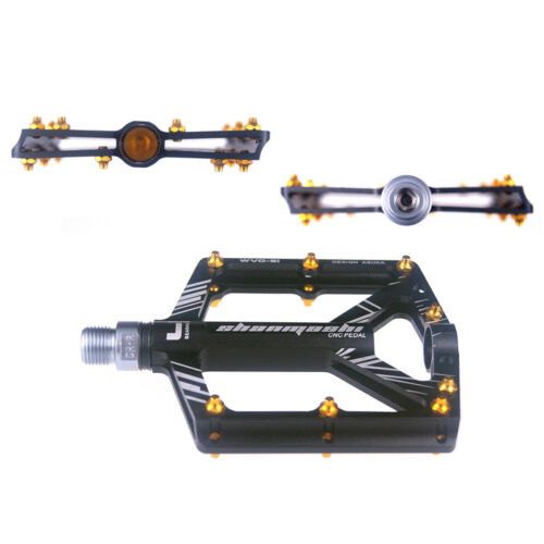 "MTB Road Bike Pedals Ultra-light 9//16/"" 4 Bearing Cycling Aluminum Platform//Flat"
