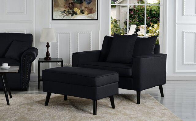 Pleasing Mid Century Modern Living Room Accent Chair W Footrest Storage Black Inzonedesignstudio Interior Chair Design Inzonedesignstudiocom