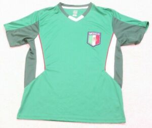 RhiNOX-Green-Red-amp-White-Short-Sleeve-V-Neck-Mexico-Jersey-Tee-T-Shirt-Small-J26