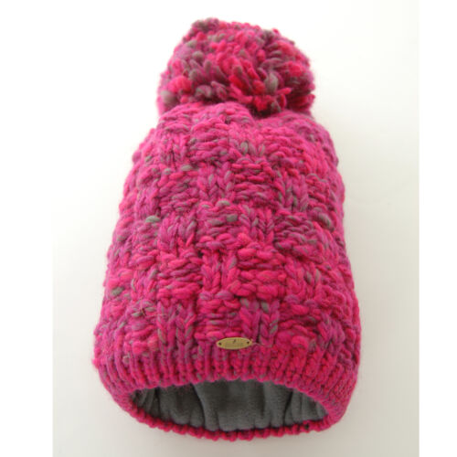 Starling Chunky Bob Fleece Lined Beanie Bobble Hat Raspberry
