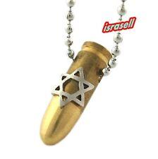 Israeli Army Bullet Necklace & Star of David - IDF - Zahal - Defense Force UZI