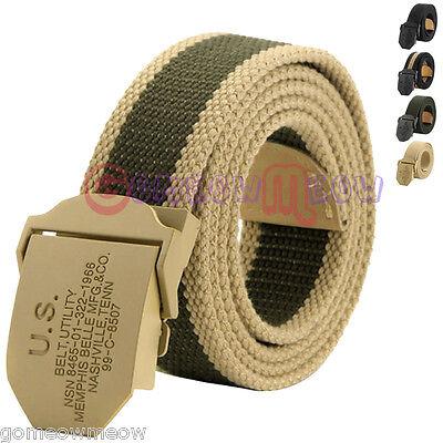 Men's Thick Stripe Canvas Belt Zulu Metal Buckle Webbing Cotton Waistband