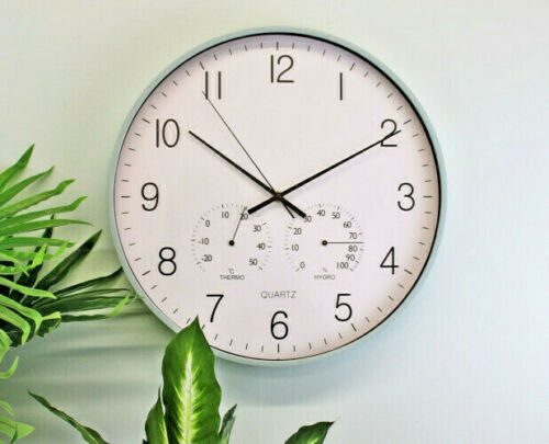 Large Green Rimmed Round Wall Clock 40cm with Thermometer /& Hygrometer