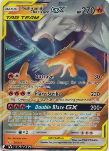 SM10-020 Reshiram /& Charizard Tag Team GX Pokemon Unbroken Bonds Card # 20