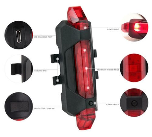 RECHARGEABLE LED FRAME Waterproof Flashing Modes Bike Bicycle Tail Light Safety