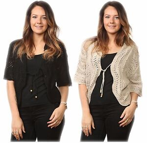 New-Ladies-Women-039-s-Cable-Knitted-Shrug-Bolero-Sweater-Top-UK-Plus-Size14-to-32