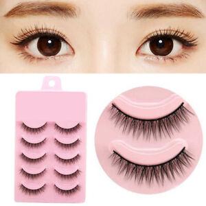 c85aa6e9090 5 Pairs Natural Short Cross False Eyelashes Handmade Makeup Fake Eye ...