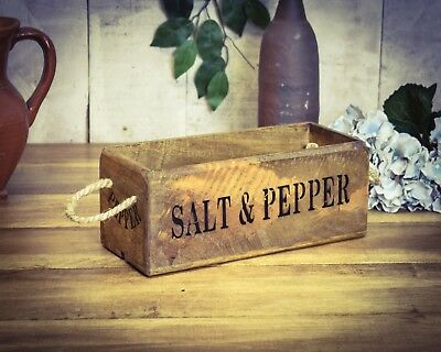 Trug Small Box Crate Vintage Antiqued Wooden Box Salt & Pepper A Great Variety Of Goods