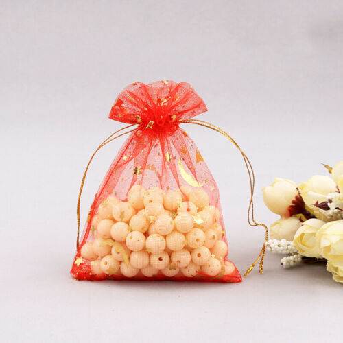 50pcs Star Jewelry Candy Organza Packing Pouch Bag Wedding Party Favor Gift Bags
