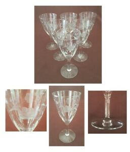 VINTAGE Wine Glasses 8 oz. ETCHED FLOWERS Clear Vertical Wave 6-Piece Set