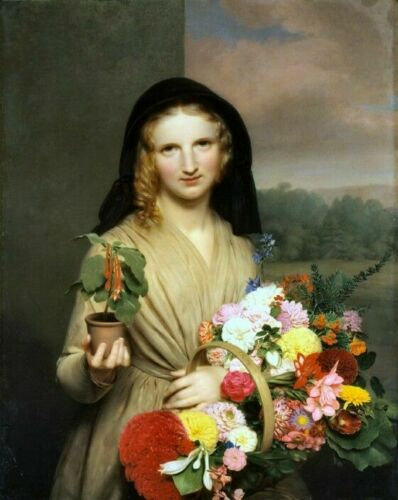The Flower Girl 1846 Picture Reproduction Art Print A4 A3 A2 A1