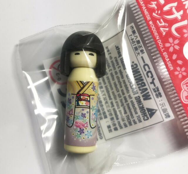 消しゴム Goma de Borrar Iwako - Kokeshi Marrón Flores - Made IN Japan