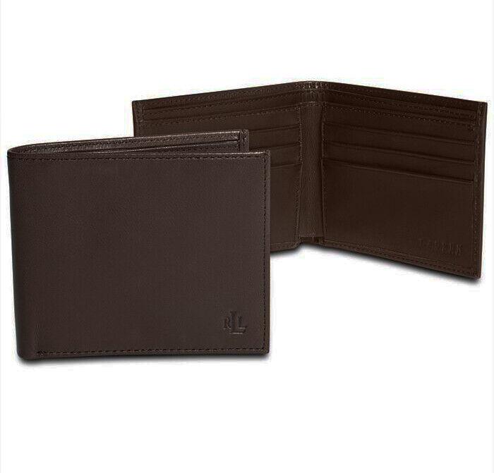 Men's Lauren by Ralph Lauren Burnished Leather Slim Billfold Wallet Black
