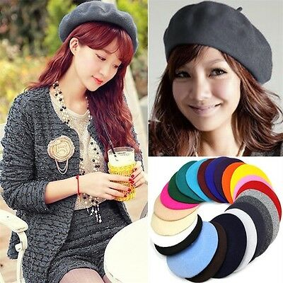 Sweet Womens Warm Wool Beret French Artist Warm Beanie Hat Winter Ski Cap HatR
