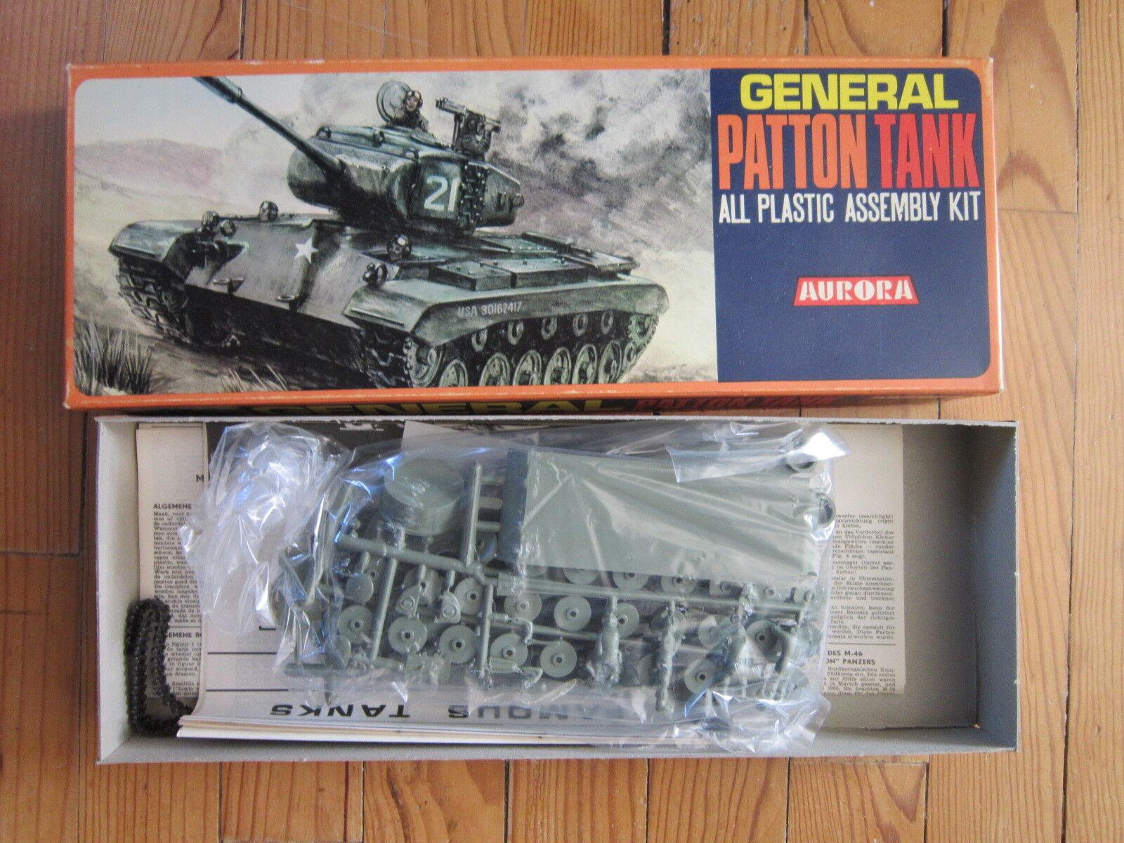 MAQUETTE 1 48 VINTAGE 1969 AURORA  GENERAL PATTON  TANK  MILITAIRE