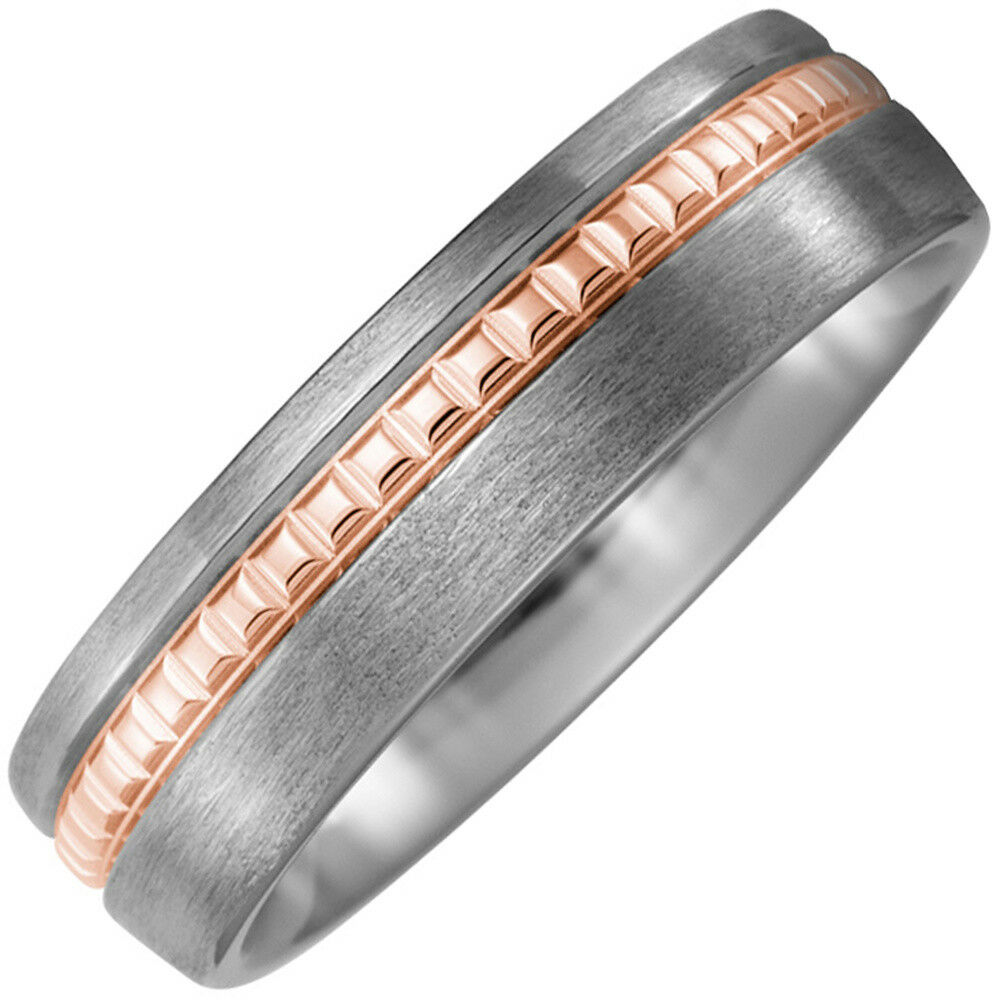 Ring Titanium Partner Made From Matte gold Stripes 750 pink