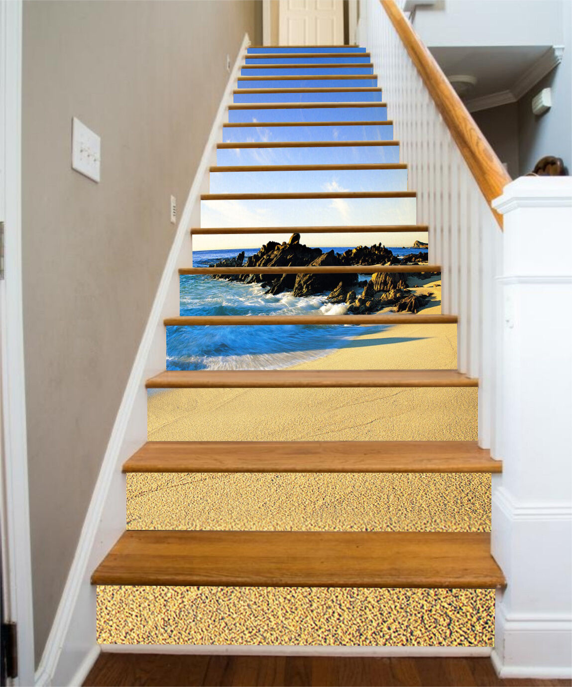 3D plage sky 357 Stair Risers Decoration Photo Mural Vinyl Decal Wallpaper UK
