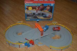 Vintage-Fisher-Price-Radio-Control-Raceway-with-Cars-Remotes-amp-Original-Box