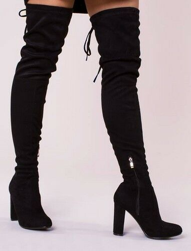 UK Sizes 3 /& 8 Black Envy Womens Suede Over The Knee Boot