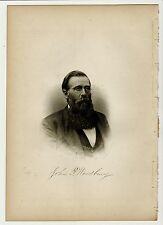 JOHN P. WOODBURY Lynn, Massachusetts MA Steel Engraving Portrait 1888