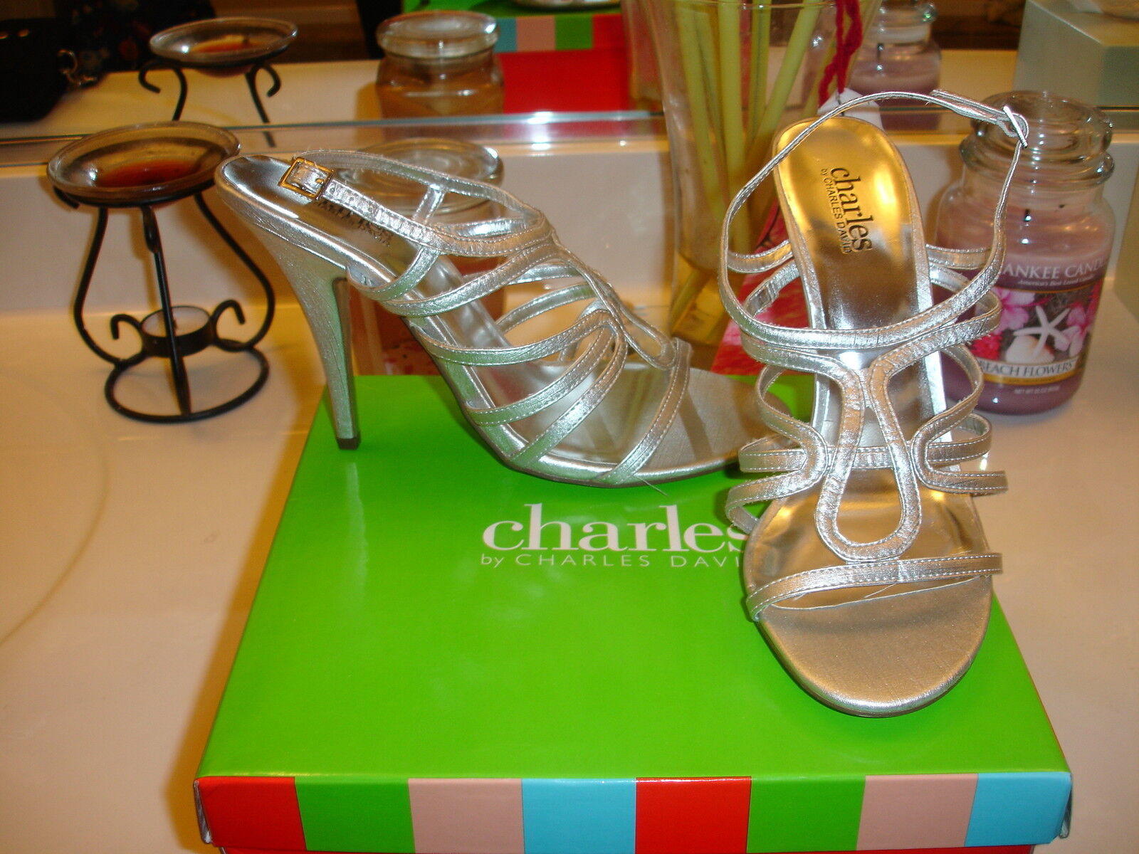 Charles David Silver Granada Heel Wedding Prom Holiday Sexy  9.5 Quality  100