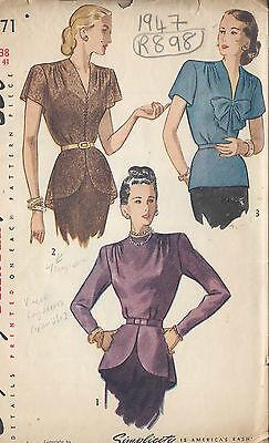 1947 Vintage Sewing Pattern B38 BLOUSE (R898)