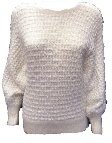 Sizes 8-14 Women Ladies New Wooly Like Boucle Batwing Jumper 2 Colours H414