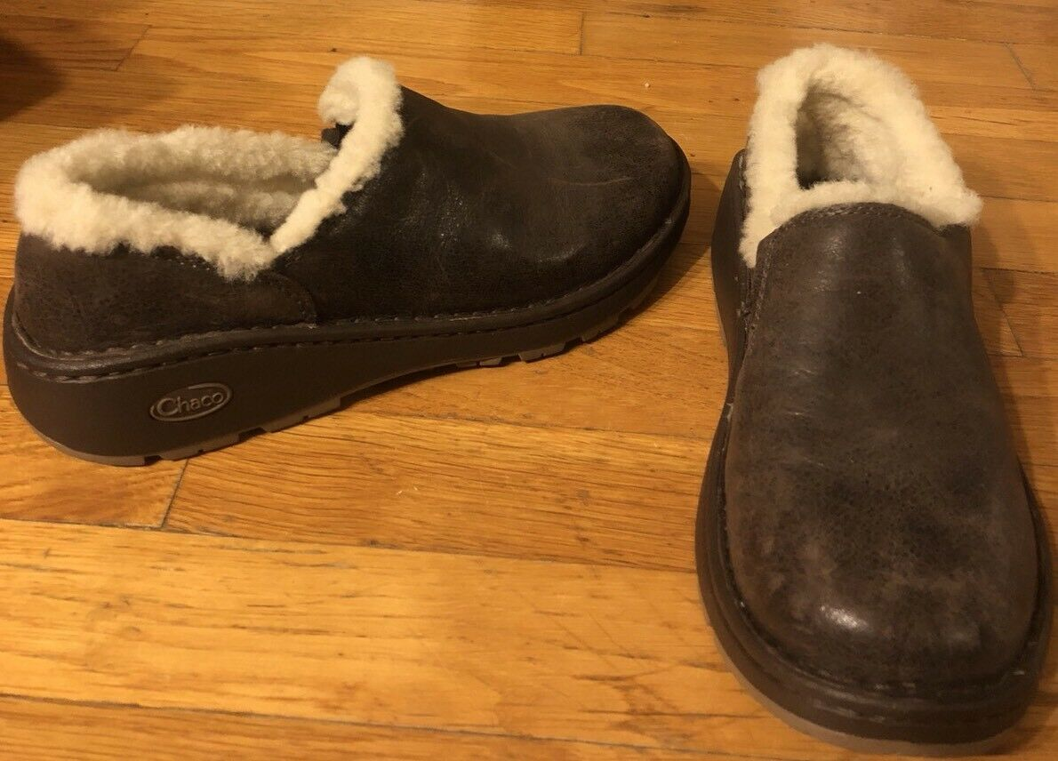 Chaco Vibratum Genuine  Leather Fur  Upper Clogs Wedge chaussures Sz 7.5
