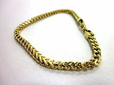 AMAZON COLLECTION MEN'S GOLD ION PLATED 4MM FOXTAIL CHAIN BRACELET IMPORTED