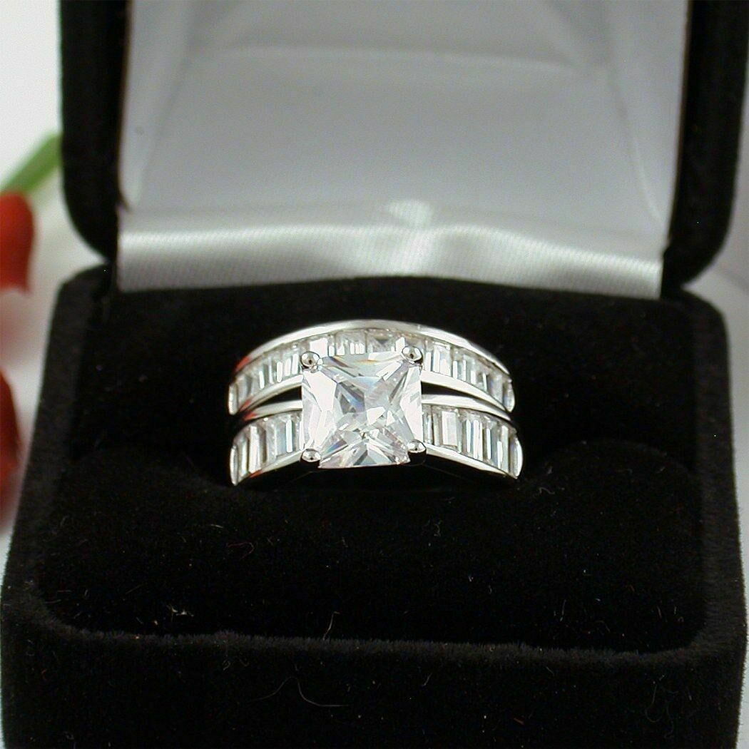 5.00ct Princess & Baguette Diamond Engagement Wedding Ring Set 10k Solid gold