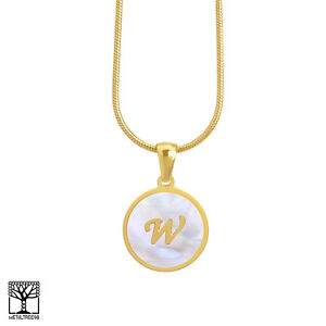 Women s Stainless Steel in Gold Initial W Letter Medallion 16