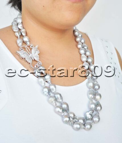 """P6229 2Row 24/"""" 19mm Gray Drop BAROQUE KESHI PEARL CZ Butterfly NECKLACE"""