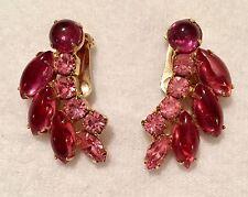 Vintage WEISS Clip Earrings Prong Set Rhinestone