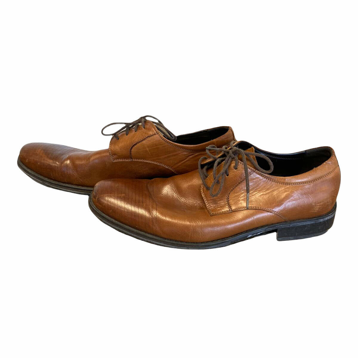Kenneth Cole Mens Fresh Air Brown Leather Lace Up Oxford Dress Shoes Size 11 M