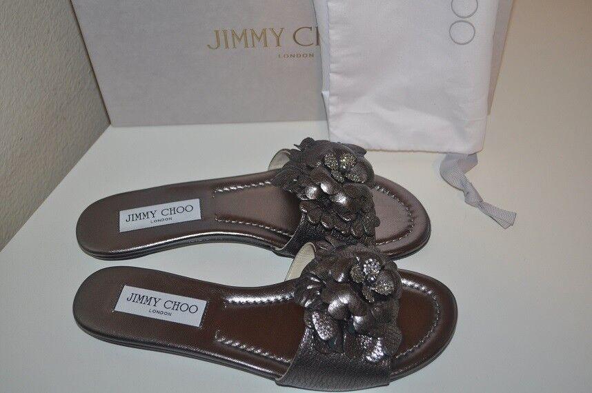Jimmy Light Choo NEAVE Embellished Floral Slide Sandal Metallic Light Jimmy Mocha  Leder 37 eae3a7