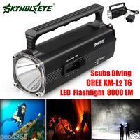8000LM CREE XM-L T6 LED Scuba Diving Underwater 100M Flashlight Torch Waterproof