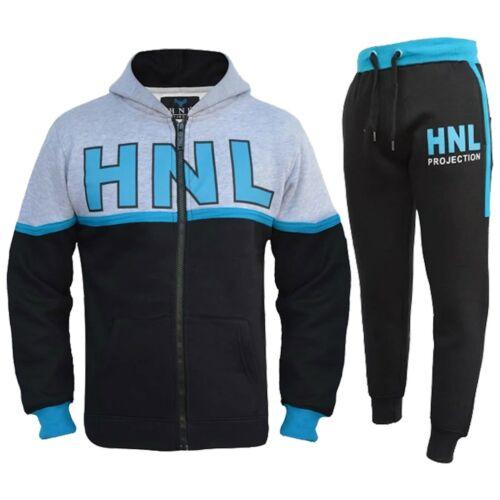 Kids Boys Tracksuit Black Designer HNL Zipped Top Bottom Jogging Suit 7-13 Years