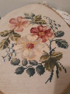 VTG-Wool-Needlepoint-Oval-Cover-Pillow-Foot-stool-Pink-Rose-amp-White-Floral